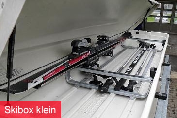 Bagagewagen met skibox (klein)
